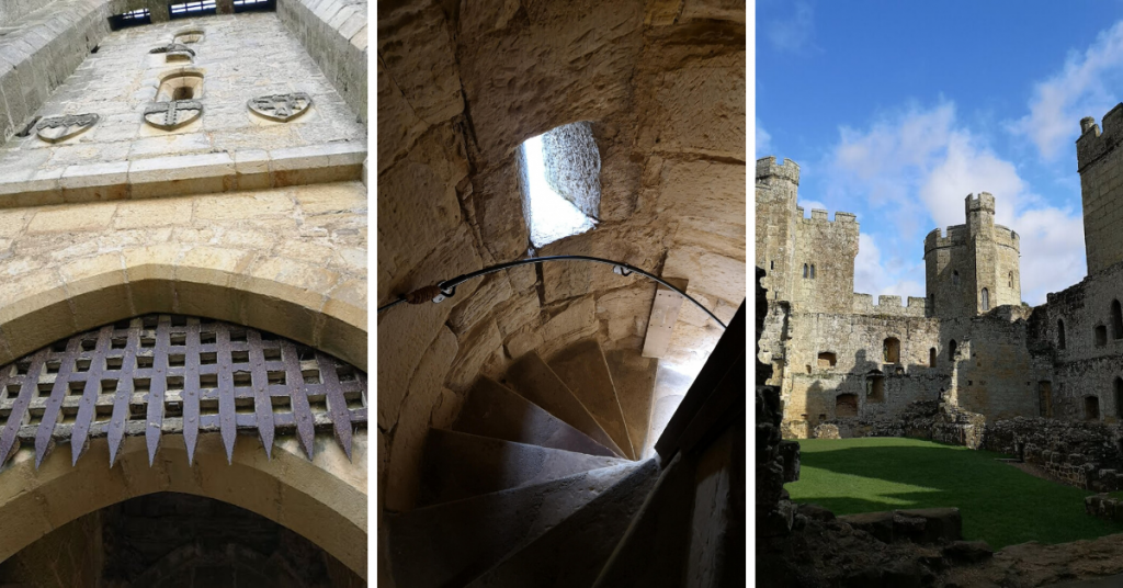 Bodiam Castle portcullis, tower stairs, and external view