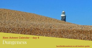 Dungeness beach with lighthouse behind