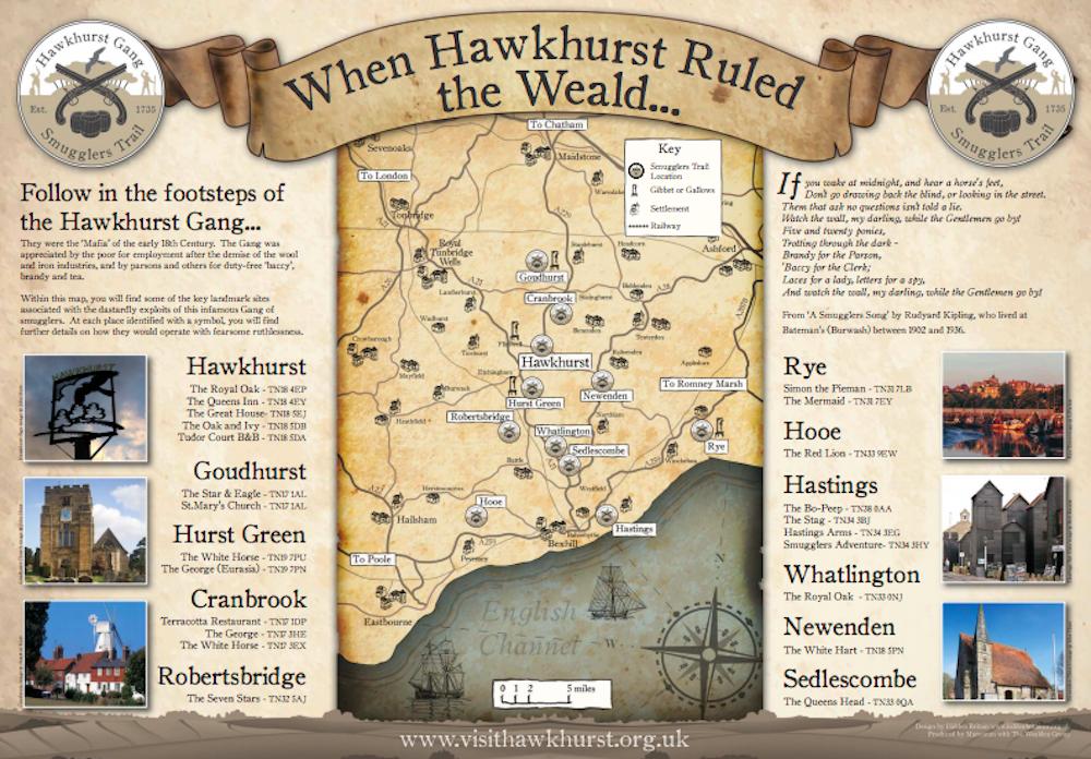 Hawkhurst Gang smugglers trail map