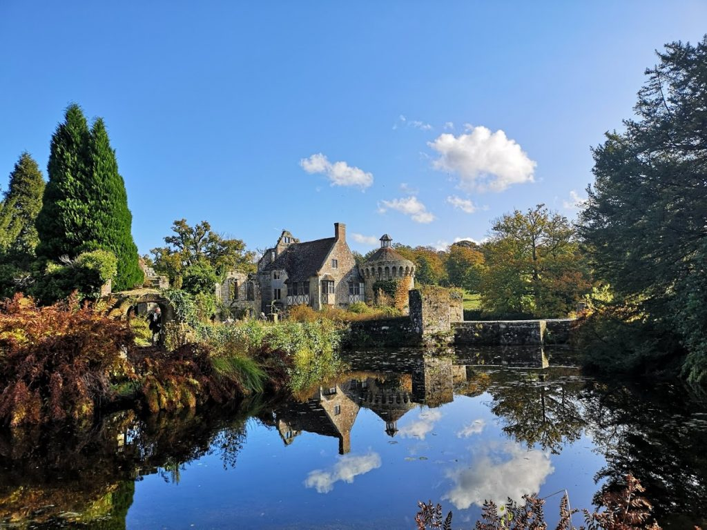 Scotney castle reflected in the moat