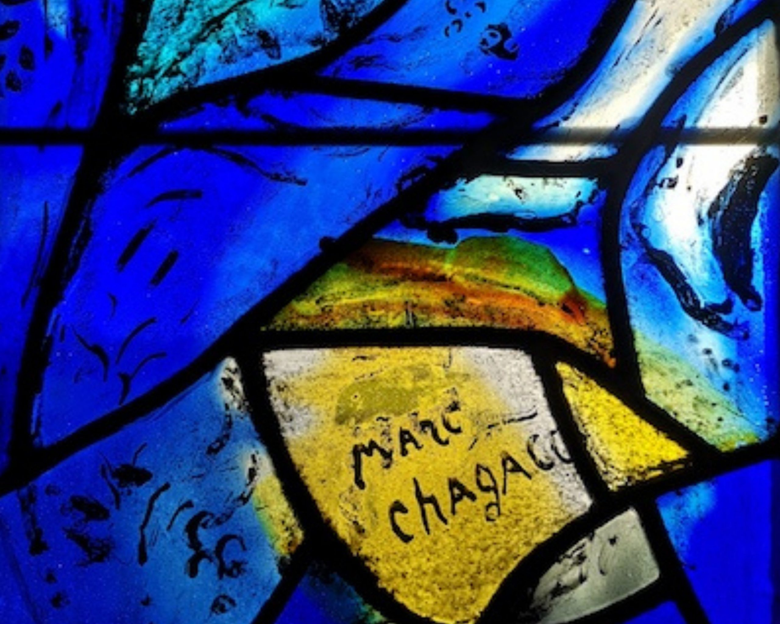 Marc Chagall signature on stained glass window