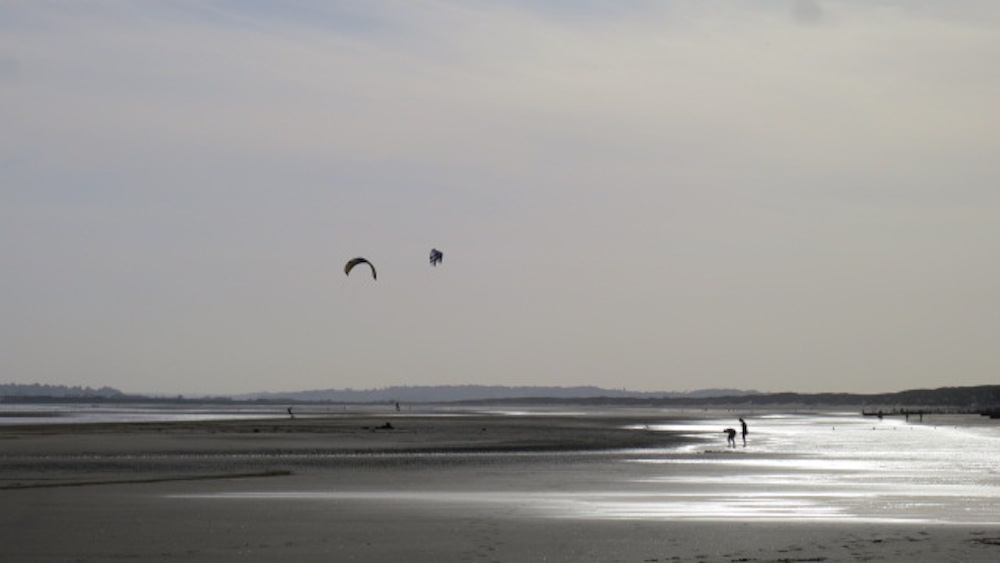 Kite surfing in winter