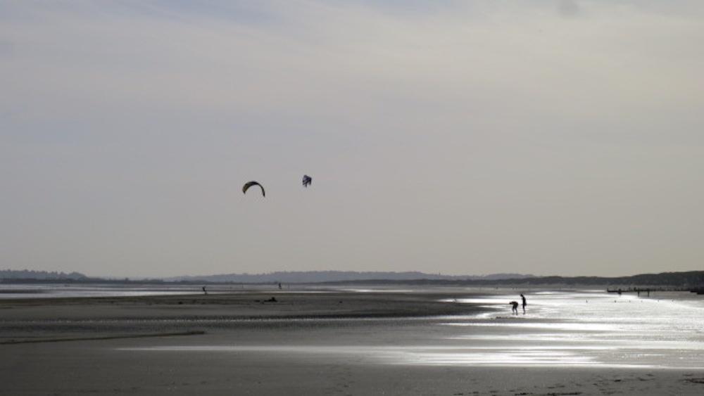 Kite surfing in winter